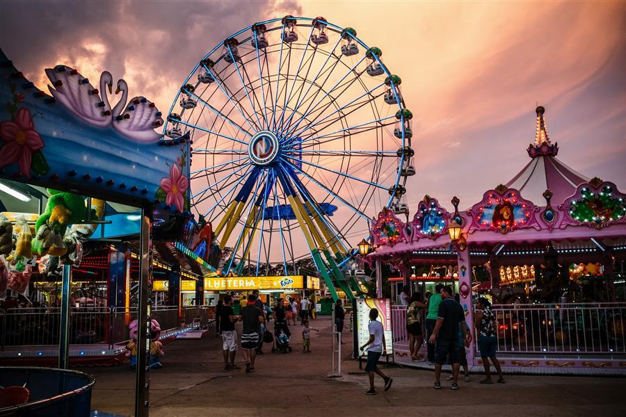 BRASILIA - BRAZIL: A general view of Nicolandia amusement park at dusk on November 16, 2014 in Brasilia, Brazil.