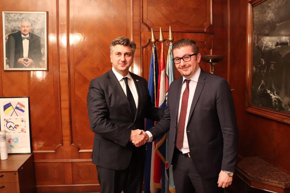 МИЦКОСКИ НА СРЕДБА СО ПЛЕНКОВИЌ  Лидерот на ВМРО ДПМНЕ на средба со хрватскиот премиер Андреј Пленковиќ