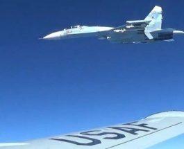 (Видео)ОПАСНА СРЕДБА НА НЕБОТО: Пентагон објави снимка од пресретнувањето на нивниот воен авион од страна на руски ловец СУ-27!