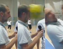 """НОВИНАР """"ЈАДЕШЕ"""" ТОПКА: Македонски новинар доби топка во глава додека интервјуираше фудбалери од бизнис лигата"""