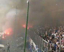 (ФОТО+ВИДЕО)ВОНРЕДНАА СОСТОЈБА ВО ГЕРМАНИЈА:Хамбургер испадна од Бундеслигата, навивачите го запалија стадионот