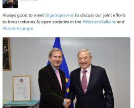 """СКАНДАЛОЗНО ОДНЕСУВАЊЕ НА ЈОХАНЕС ХАН: Европската Унија и Џорџ Сорос зеднички работеле на """"поттикнувањето"""" на демократијата на Западен Балкан!"""