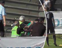 (Видео)ПОВРЕДЕН ФУДБАЛСКИ СУДИЈА: Навивач на Пелистер приведен откако со тврд предмет го погоди судијата во глава