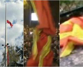 МАКЕДОНСКОТО ЗНАМЕ ЗАПАЛЕНО, СКИНАТО И СИМНАТО ОД ЈАРБОЛ: Соросовата хунта и големоалбанците на Заев ја спроведуваат тиранската платформа!